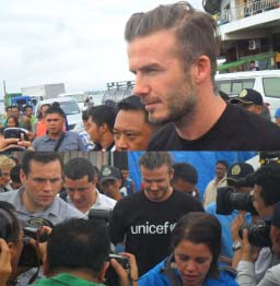 CHEERS. Football superstar David Beckham visited Yolanda victims in Tacloban City and Tanauan, Leyte on February 13 and 14. In photo above shows one of the world's most familiar faces being mobbed during his visit at the Tacloban astrodome. (ROEL T.AMAZONA)
